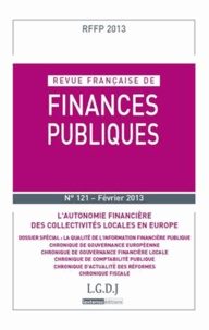 LGDJ - Revue française de finances publiques N° 121 : .