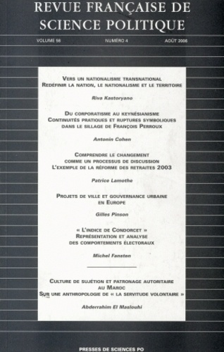 Riva Kastoryano et Antonin Cohen - Revue française de science politique Volume 56 N° 4, Août : .