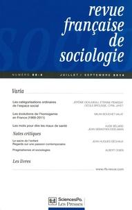 Olivier Galland et Pierre-Michel Menger - Revue française de sociologie N° 55-3, juillet-sep : .