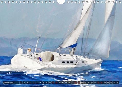 Sport nautique peintures (Calendrier mural 2020 DIN A4 horizontal). 12 tableaux,créations originales sur le thème des voiliers. (Calendrier mensuel, 14 Pages )