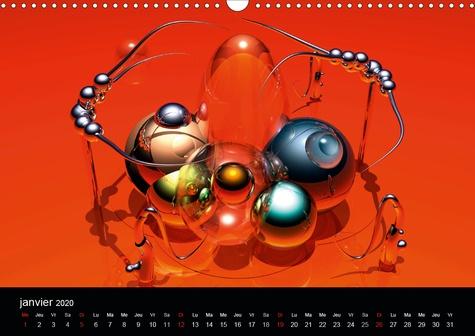 Variations Digitales (Calendrier mural 2020 DIN A3 horizontal). Créations multiples d'objets numérisés. (Calendrier mensuel, 14 Pages )