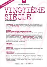 Antoine Prost et Anne Martin-Fugier - Vingtième siècle N° 81 Janvier-Mars 2 : Numéro spécial - Révolution urbaine et mondialisation.