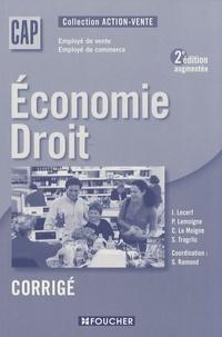 Economie Droit CAP vente-commerce- Corrigé - Solange Ramond |