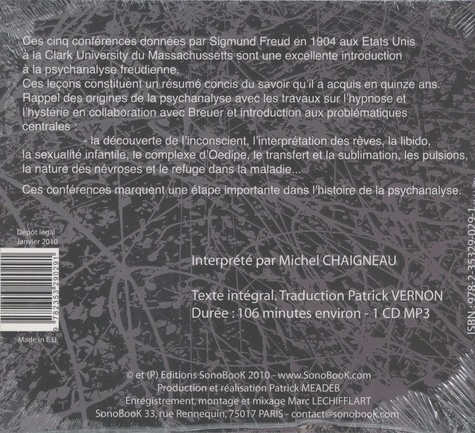 Cinq conférences sur la psychanalyse  avec 1 CD audio MP3