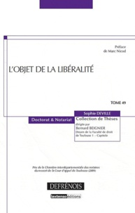 Sophie Deville - L'objet de la libéralité.
