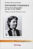 Sophie Kovalewsky et Anne-Charlotte Leffler - Souvenirs d'enfance - Suivi d'une biographie.