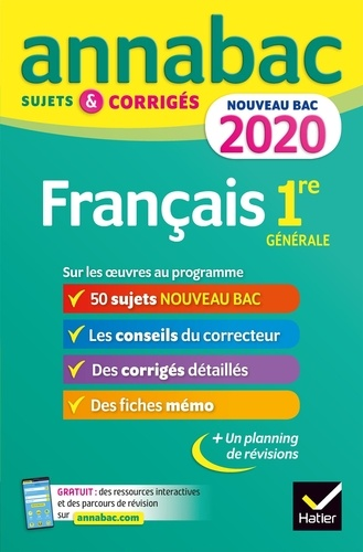 Français 1re générale. Sujets et corrigés  Edition 2020