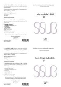SSUB - La lettre de la S.S.U.B. N° 27 : .