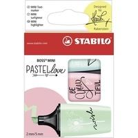 STABILO - Etui 3 mini surligneurs Stabilo Boss PASTEL LOVE - coloris assortis