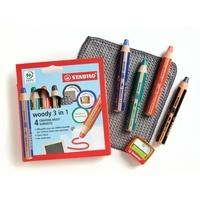 STABILO - Etui carton x 4 crayons multi-surfaces lisses STABILO woody 3in1 + 1 taille crayon + 1 chiffonnette - noir + bleu + rouge + vert