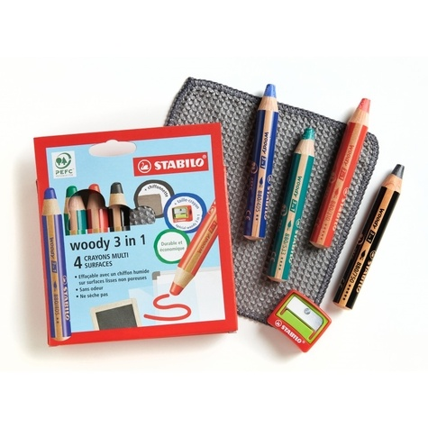Etui carton x 4 crayons multi-surfaces lisses STABILO woody 3in1 + 1 taille crayon + 1 chiffonnette - noir + bleu + rouge + vert