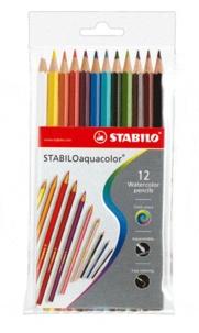 STABILO - Pochette de 12 crayons de couleur Aquacolor