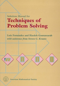 Accentsonline.fr SOLUTIONS MANUAL FOR TECHNIQUES OF PROBLEM SOLVING Image