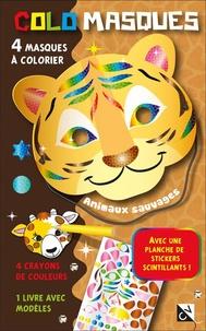 Feriasdhiver.fr Colomasques animaux sauvages - Avec 4 masques à colorier, 4 crayons de couleur, 1 livre avec modèles, 1 planche de stickers scintillants Image