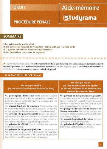 Studyrama - Procédure pénale.