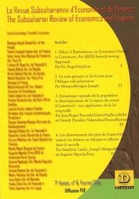 Subsaharienne Revue - La Revue Subsaharienne d'Economie et de Finance - 6 The Subsaharian Review of Economics and Finance - 7ème année, n°6, février 2016.