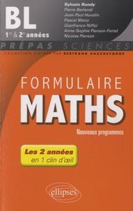 Sylvain Rondy - Formulaire Maths BL 1re et 2e années.