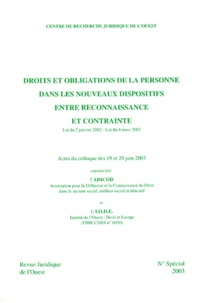 Deedr.fr Droits et obligations de la personne dans les nouveaux dispositifs entre reconnaissance et contrainte Image