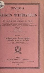 Szolem Mandelbrojt et  Académie des sciences de Paris - Les singularités des fonctions analytiques représentées par une série de Taylor.