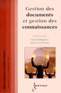 Gérard Dupoirier et  Collectif - Document numérique Volume 3 N° 3-4/1999 : Gestion des documents et gestion des connaissances.