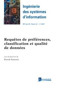 Hermes science publications - Ingénierie des systèmes d'information Volume 22 n°3, mai-j : Requêtes de préférences, classification et qualité de données.