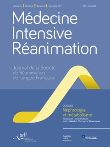 Julien Maizel et Christophe Vinsonneau - Médecine Intensive Réanimation Volume 26 N° 6, nove : Néphrologie et métabolisme.