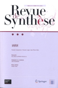 François Jacquesson et François Loget - Revue de synthèse Tome 132 N° 4/2011 : Varia.