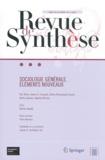 Eric Brian - Revue de synthèse Tome 133 N° 1/2012 : Sociologie générale - Eléments nouveaux.