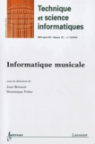 Jean Bresson et Dominique Fober - Technique et science informatiques Volume 33 N° 7-8, Se : Informatique musicale.