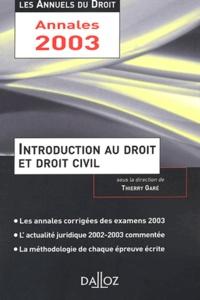 Thierry Garé - Introduction au droit et droit civil.
