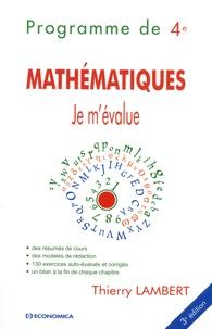 Mathématiques- Programme de 4e - Thierry Lambert |
