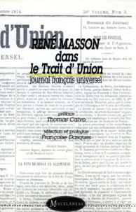 Thomas Calvo - René Masson dans le Trait d'Union - Journal français universel.
