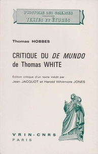 Thomas Hobbes - Critique du Mundo de Thomas White.