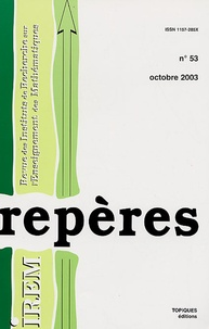 Jean-Paul Guichard et Philippe Lombard - Repères - IREM N° 53, Octobre 2003 : .
