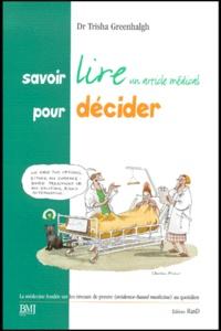 Deedr.fr Savoir lire un article médical pour décider. - La médecine fondée sur les niveaux de preuve (evidence-based medicine) au quotidien Image