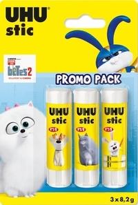 UHU - Lot de 3 stic blanc 8,2g Licences RDC 2019