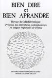 Jacques Landrecies - Bien Dire et Bien Aprandre N° 28 : Présence des littératures contemporaines en langues régionales de France.