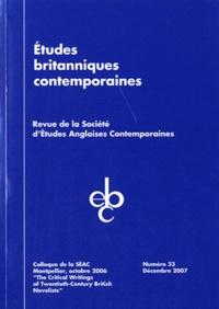 Madelena Gonzalez et Shirley Bricout - Etudes britanniques contemporaines N° 33, décembre 2007 : The Critical Writings of Twentieth-Century British Novelists - Colloque de la SEAC, Montpellier, octobre 2006.
