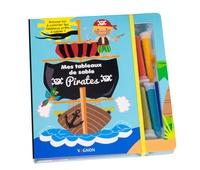 Vagnon Editions - Mes tableaux de sable pirates - Avec 8 cartes à décorer, 4 tubes de sable coloré, 1 pique en bois et 1 pinceau applicateur.