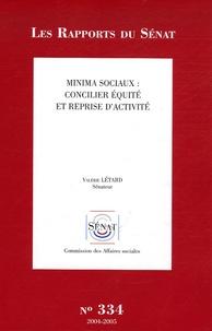 Valérie Létard - Les Rapports du Sénat N° 334 - Minima sociaux : concilier équité et reprise d'activité.