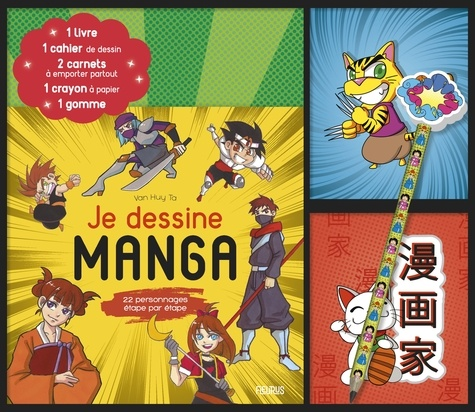 Je dessine manga. Coffret avec 1 livre, 1 cahier de dessin, 2 carnets à emporter partout, 1 crayon à papier et 1 gomme