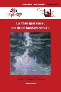 Vanessa Barbé et Odile Levannier-Gouël - La transparence, un droit fondamental ?.