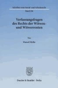 Verfassungsfragen des Rechts der Witwen- und Witwerrenten.