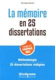 Véronique Bonnet - La mémoire en 25 dissertations - Sujet des concours EC.