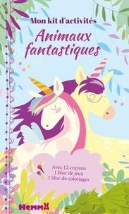 Véronique Raskinet - Mon kit d'activités Animaux fantastiques - Avec 12 crayons, 1 bloc de jeux, 1 bloc de coloriages.