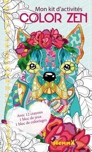 Véronique Raskinet - Mon kit d'activités Color zen Chien - Avec 12 crayons de couleur, 1 bloc de jeux, 1 bloc de coloriages.