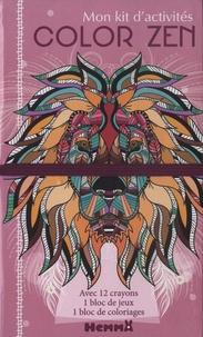Véronique Raskinet - Mon kit d'activités Color zen Lion - 12 crayons de couleur, 1 bloc de jeux, 1 bloc de coloriages.