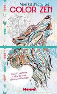 Véronique Raskinet - Mon kit d'activités Color zen Loup - Avec 12 crayons, 1 bloc de jeux, 1 bloc de coloriages.