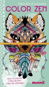 Véronique Raskinet - Mon kit d'activités Color Zen renard - 12 crayons de couleur, 1 bloc de jeux, 1 bloc de coloriages.