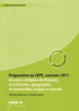 Viviane Marzouk et Alexis Jaoul - Préparation au CRPE, concours 2011 - Annales corrigées de français et d'histoire, géographie et d'instruction civique et morale.